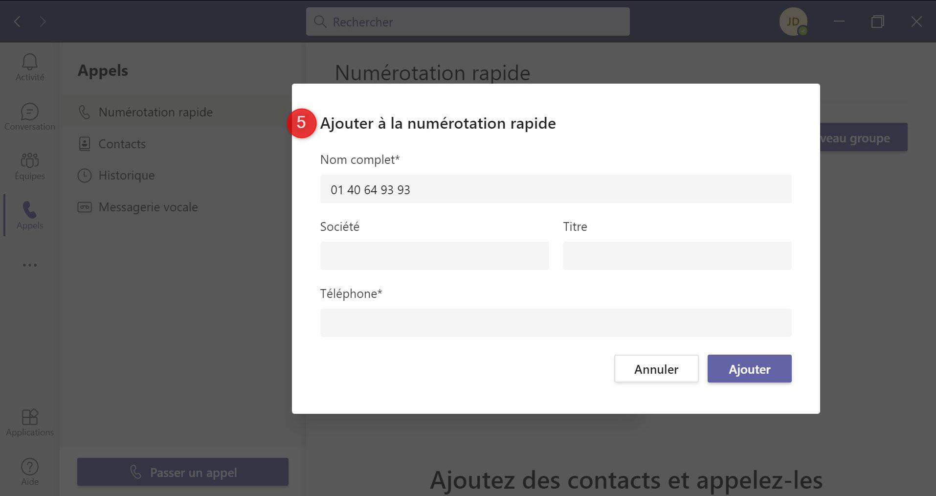 Numérotation Rapide Teams Contact Détaillé